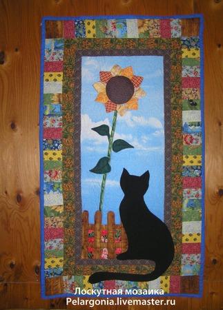 """Лоскутное панно """"Черная кошка с подсолнухом"""" ручной работы на заказ"""