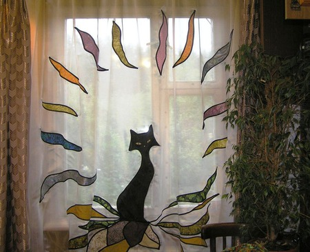 """Шторы лоскутные """"Черная кошка"""" ручной работы на заказ"""