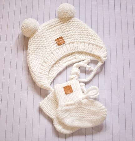 Вязаный комплект Зефирка (возраст 0-6 месяцев) ручной работы на заказ