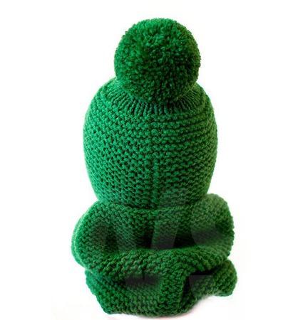 Детский вязаный комплект Просто Зеленый ручной работы на заказ