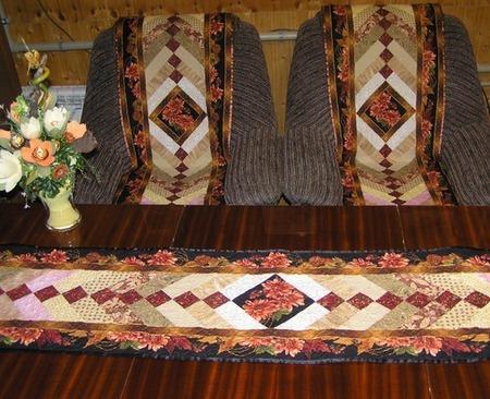 """Комплект-накидки на кресла и дорожка""""Лоскутные узоры"""" ручной работы на заказ"""