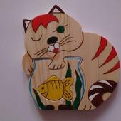 Кот-рыбак (пазлы дерева)