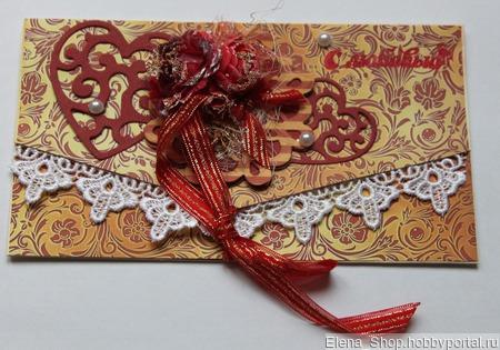 Конверт для денежного  подарка ручной работы на заказ