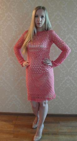 Коралловое платье ручной работы на заказ