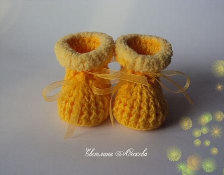 Пинетки желтые для девочки ручной работы на заказ