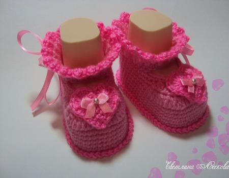 Пинетки  розовые для девочки Валентинки ручной работы на заказ
