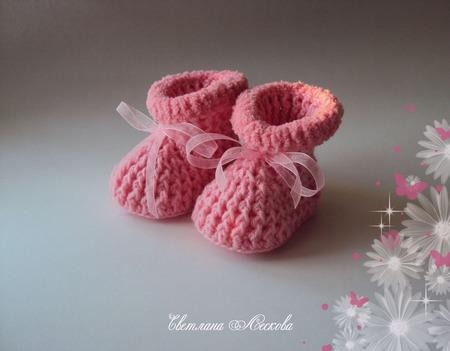 Пинетки розовые с опушкой для девочки ручной работы на заказ