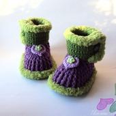 Пинетки-сапожки фиолетовые для девочки