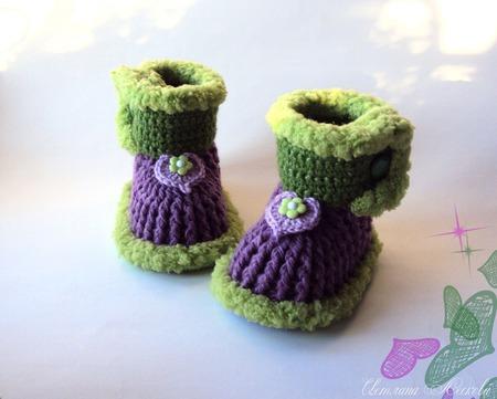 Пинетки-сапожки фиолетовые для девочки ручной работы на заказ