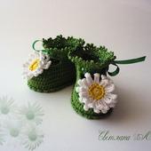 Пинетки зеленые из хлопка летние Ромашки