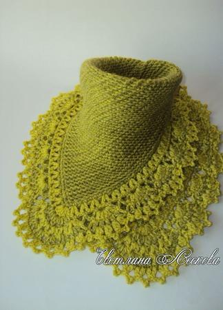 Манишка,шарф,снуд оливковая Зимняя находка ручной работы на заказ