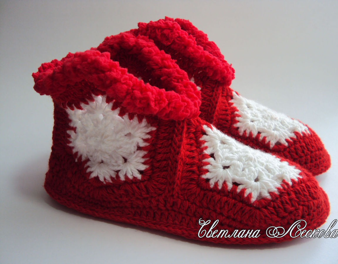 тапочки снежинки вязаные крючком красные купить в интернет