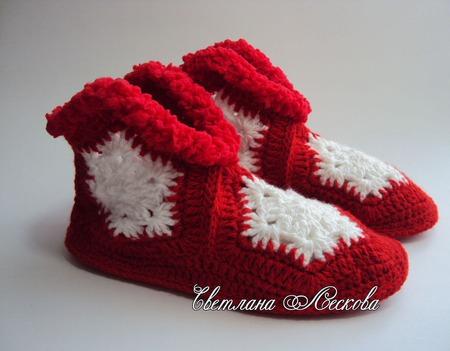 Тапочки Снежинки вязаные крючком красные ручной работы на заказ