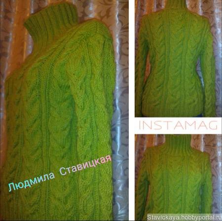 Оливковый свитер ручной работы на заказ