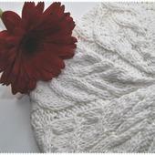 """Берет вязаный """"Белый цветок"""""""