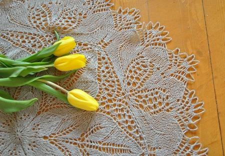 """Скатерть круглая """"Льняной цветок"""" ручной работы на заказ"""