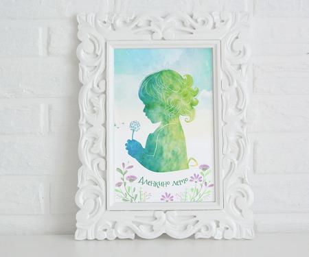 Уникальный акварельный силуэт в пол роста с прорисовкой волос + фон ручной работы на заказ