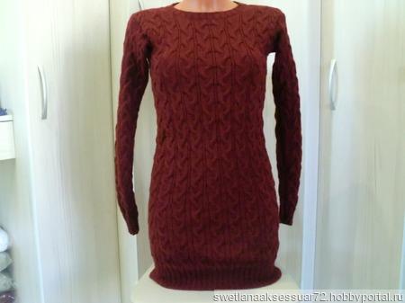 Вязаное платье с узором косы ручной работы на заказ