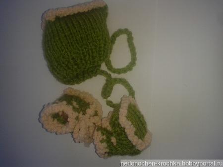 Комплект пинетки и шапочка ручной работы на заказ