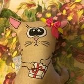 Кофейный котик с подарком