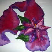 Валяный шарф из натуральной шерсти