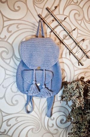 Жемчужный вязаный рюкзак ручной работы на заказ