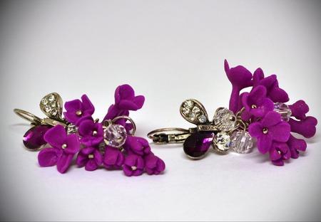 """Серьги """"Сиреневые бабочки"""" (термопластика) ручной работы на заказ"""