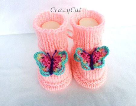 """Теплые пинетки """"Бабочки"""" для малышки с бесшовным верхом ручной работы на заказ"""
