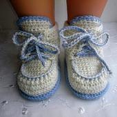 Пинетки вязаные ботиночки на шнуровке