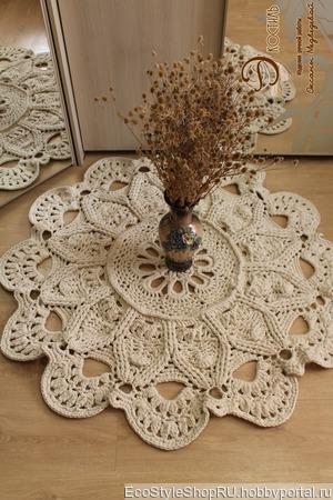 Ковер вязаный из хлопка в форме цветка ручной работы на заказ