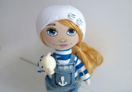 Кукла-морячка в тельняшке ручной работы на заказ