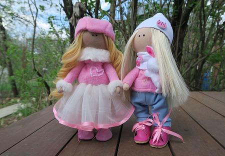 Текстильная кукла в розовом ручной работы на заказ