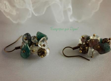 Серьги из каменной крошки Нефрит ручной работы на заказ