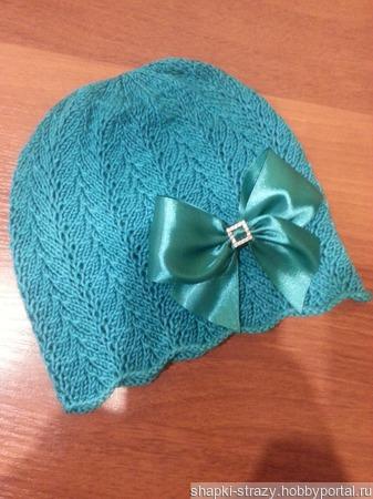 Ажурная шапочка из хлопка р. 48/50 ручной работы на заказ