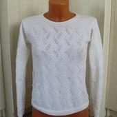 Пуловер вязаный с элементами ажура