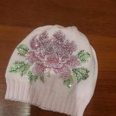 Хлопковая шапочка с авторским декором из страз р. 52-54