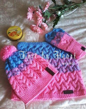 Вязаный комплект шапка, снуд и варежки детский Knit by Heart ручной работы на заказ