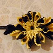 Заколка зажим для волос желтый с черным