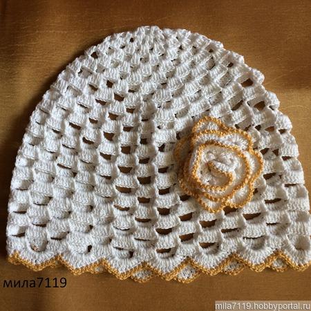 Детская шапочка с цветком ручной работы на заказ
