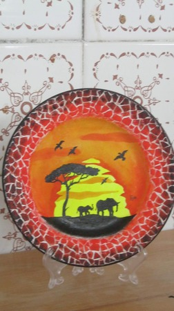 "Декоративная тарелка   ""Африка"" ручной работы на заказ"