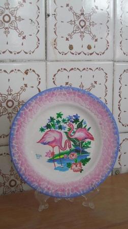 "Декоративная тарелка   ""Фламинго"" ручной работы на заказ"