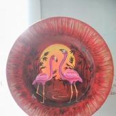 """Декоративная тарелка   """"Розовый фламинго"""""""
