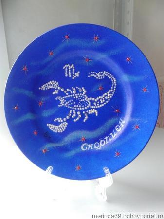 "Декоративная тарелка ""Зодиак Скорпион"" ручной работы на заказ"