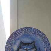 "Декоративная тарелка   ""Спящий кот"""