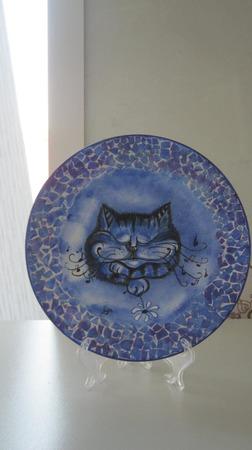 """Декоративная тарелка   """"Спящий кот"""" ручной работы на заказ"""