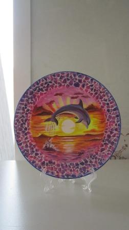 """Декоративная тарелка   """"Дельфин"""" ручной работы на заказ"""