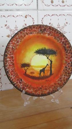 "Декоративная тарелка ""Жираф"" ручной работы на заказ"