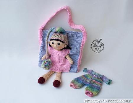 Кукла Айрис и сумочка для куклы и ее одежды ручной работы на заказ