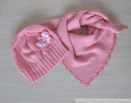 Шапка и косынка для девочки ручной работы на заказ