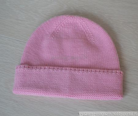 Шапка розовая на 1-2 года ручной работы на заказ